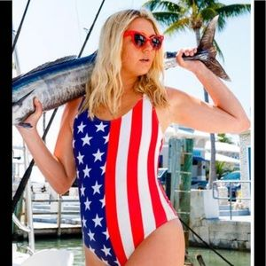 Chubbies Women's America Flag One piece Swimsuit